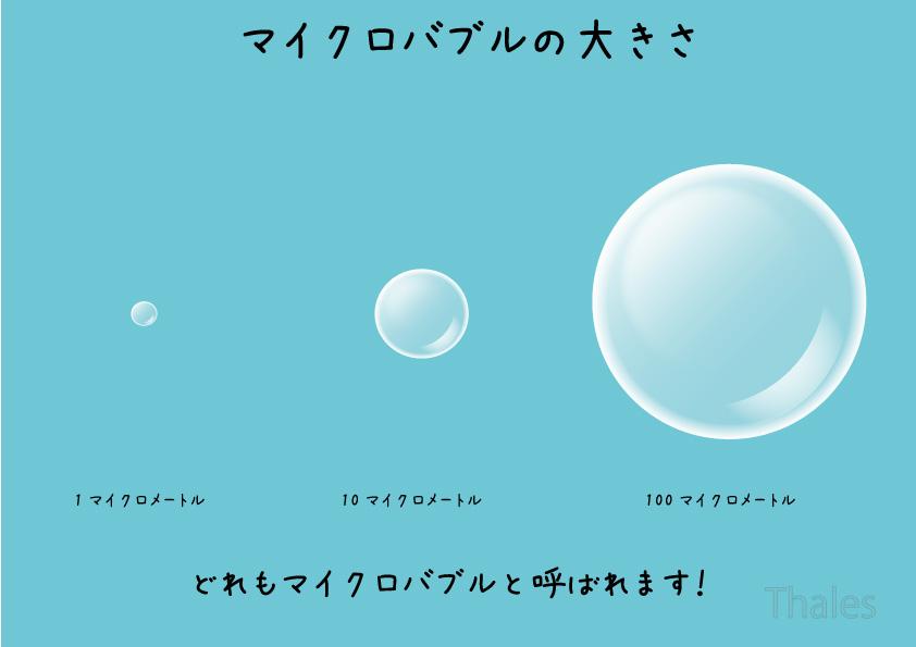 マイクロバブルの大きさ比較